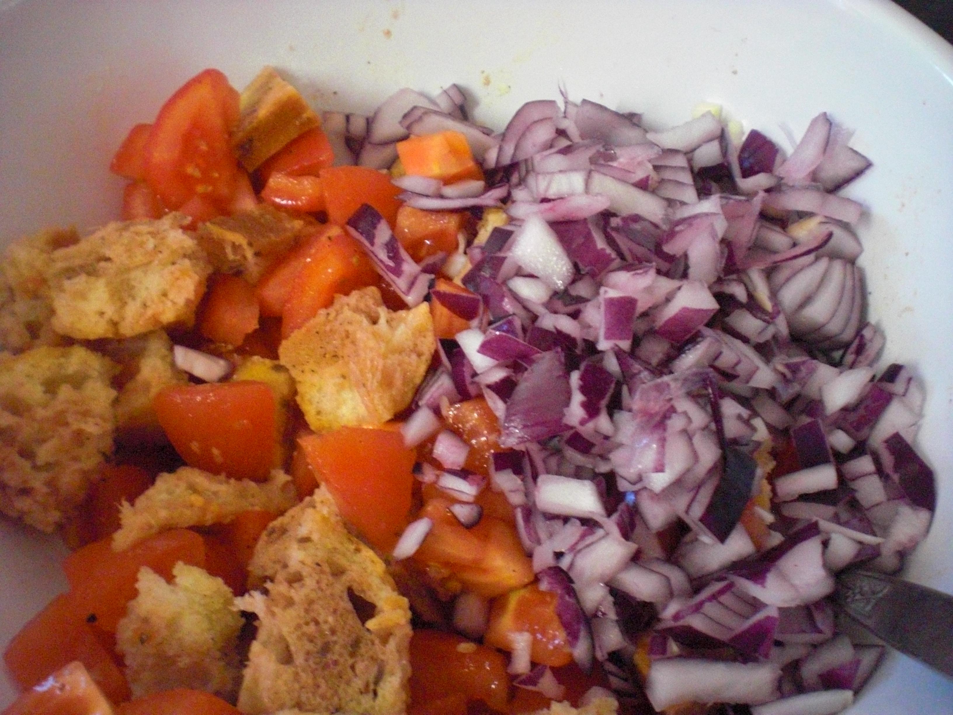 onions, tomatoes, bread, panzanella