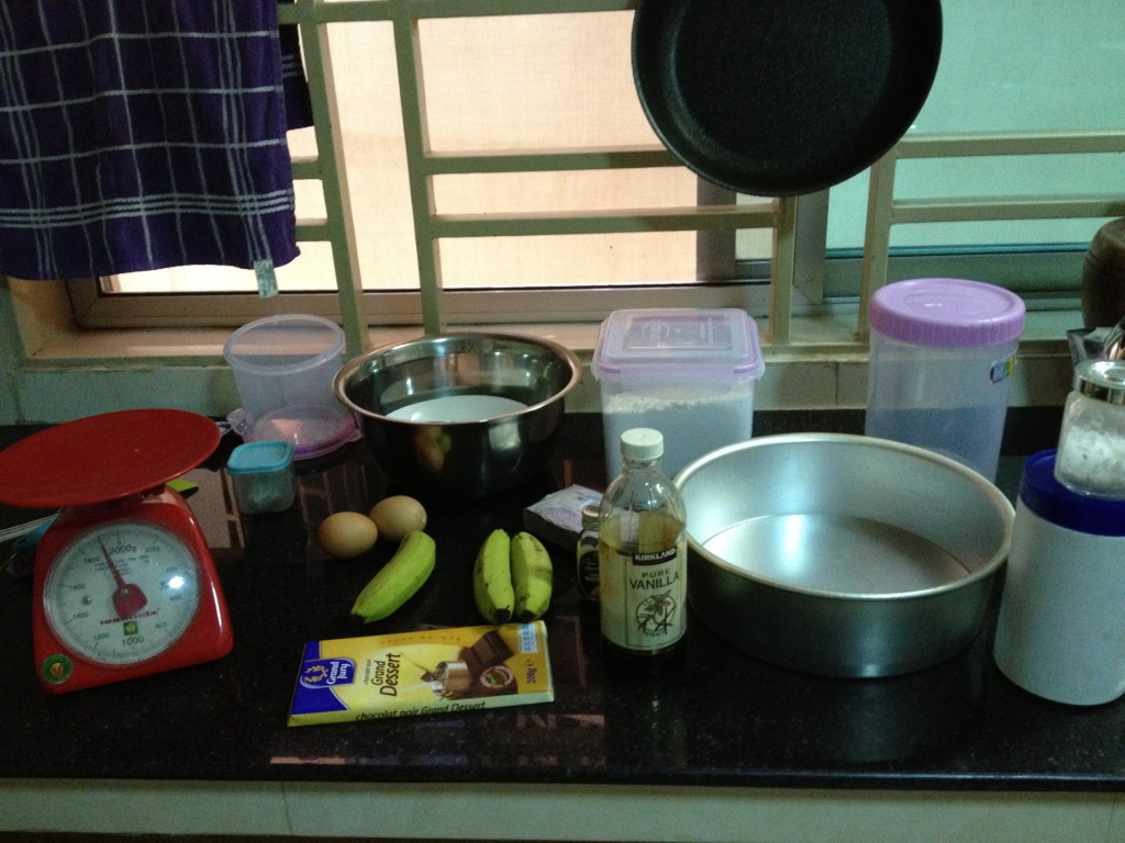 ingredients for banana and chocolate chunk cake