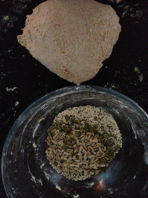 add the dough to the seeds