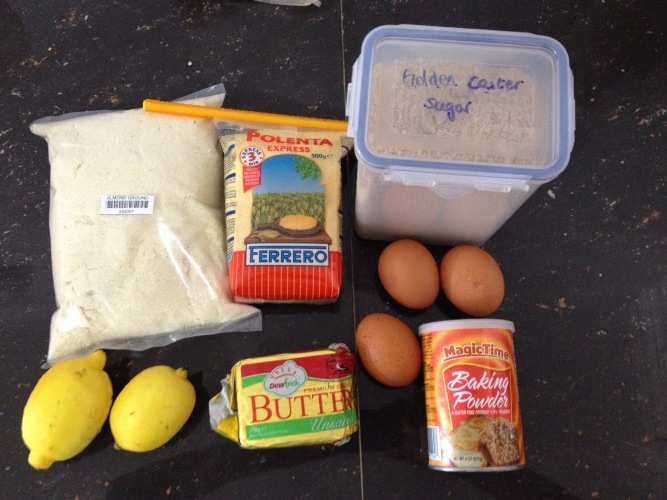 ingredients for lemon polenta cake
