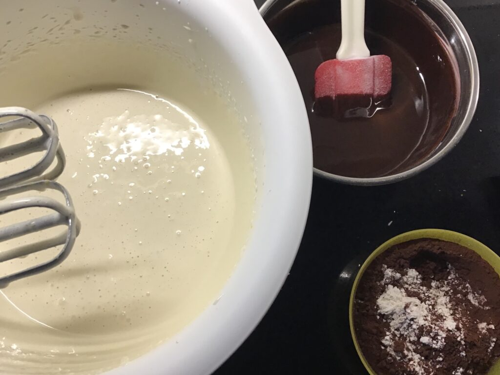 Brownies components ready to mix together